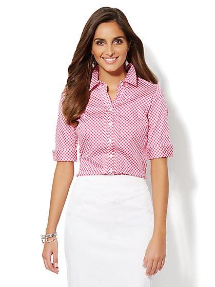 Madison Pintuck Button-Down Shirt - Polka-Dot   - New York & Company