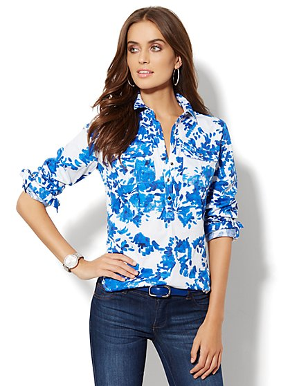 Madison Popover Shirt - Brushstroke Floral Print  - New York & Company