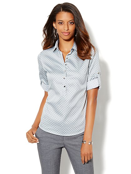 Madison Popover Shirt - Dot Print - New York & Company