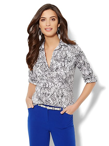 Madison Popover Shirt - Python Print  - New York & Company
