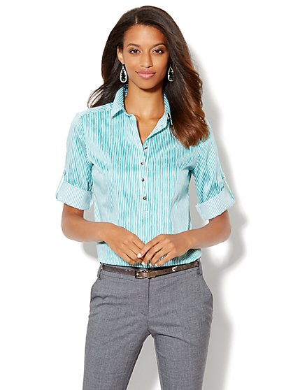 Madison Popover Shirt - Stripe - New York & Company