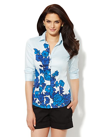 Madison Shirt - 3/4-Length Sleeve - Floral - Petite  - New York & Company