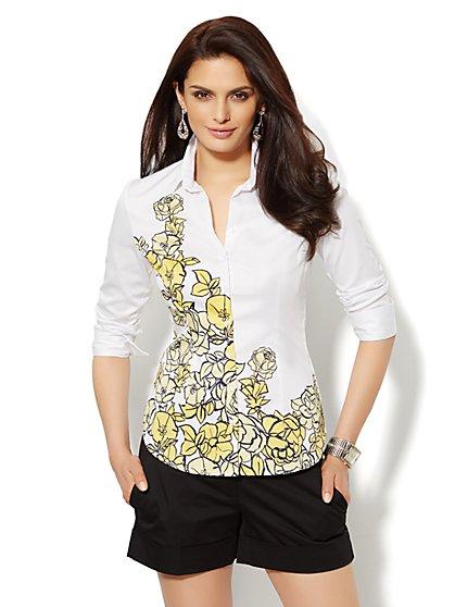 Madison Shirt - 3/4-Length Sleeve - Floral - Petite  - New York & Company