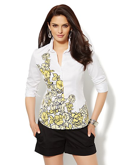 Madison Shirt - 3/4-Length Sleeve - Floral  - New York & Company