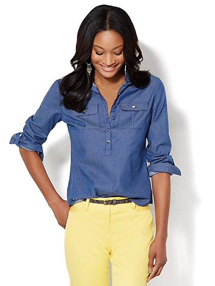 Madison Shirt - Cotton-Blend Chambray Popover  - New York & Company