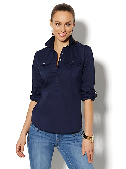 Madison Shirt - Cotton-Blend Popover - Petite - New York & Company