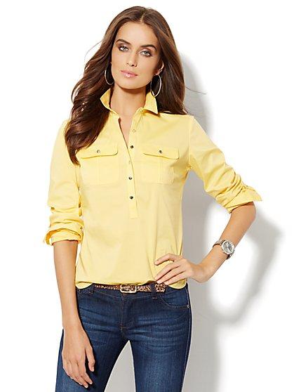 Madison Shirt - Cotton-Blend Popover - Petite - New York & Company