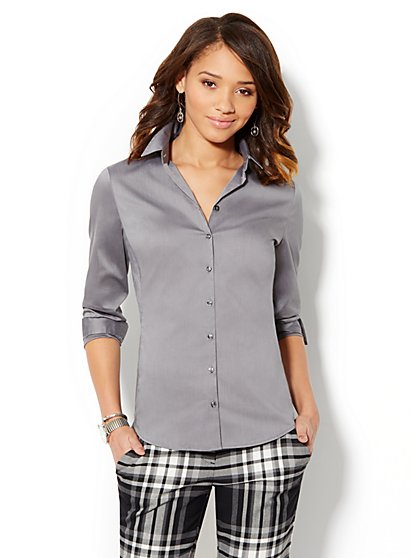 Madison Shirt - New SecretSnap Design - Grey - New York & Company
