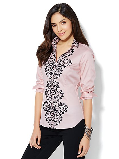 Madison Shirt - New SecretSnap Design - Lace Print  - New York & Company
