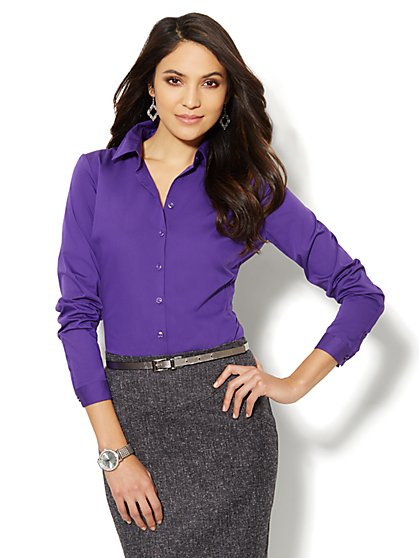 Madison Shirt - New SecretSnap Design - Solid - New York & Company