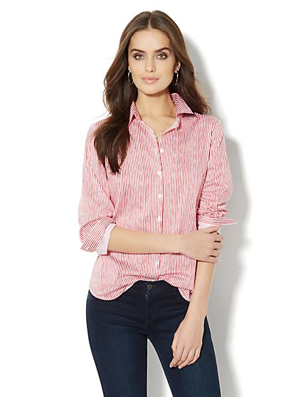 Madison Shirt - New SecretSnap Design - Striped - New York & Company