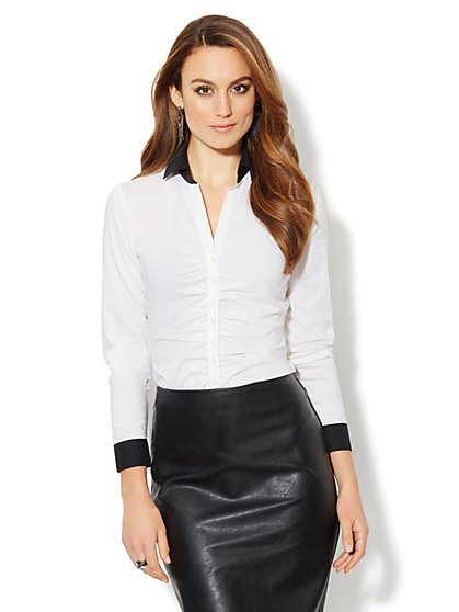 Madison Shirt - Shirred - Contrast Trim  - New York & Company