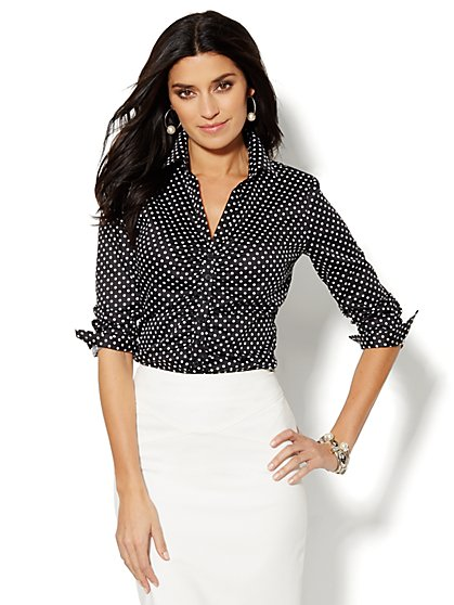 Madison Shirt - Shirred Front - Dot Print - New York & Company