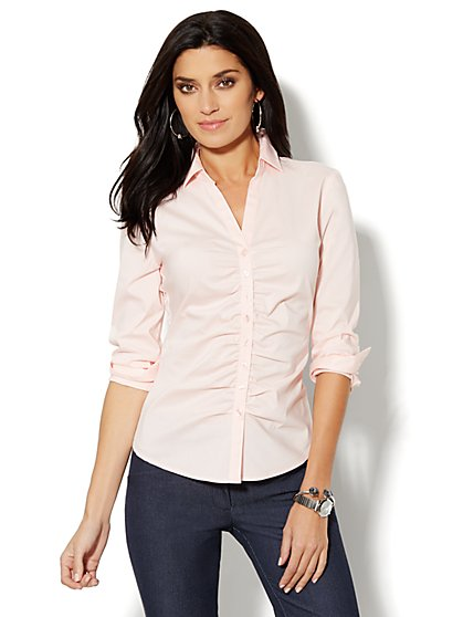 Madison Shirt - Shirred Front - Solid - New York & Company