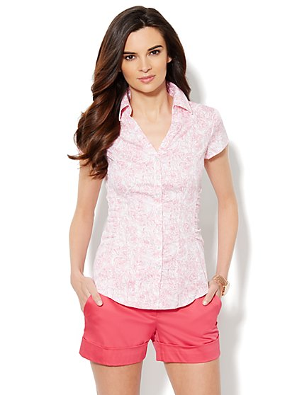 Madison Shirt - Side-Ruched - Floral