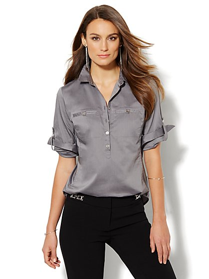 Madison Shirt - Solid Popover Shirt - New York & Company