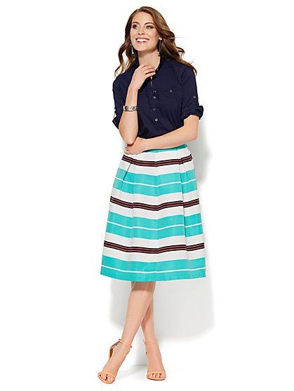 Madison Shirt - Solid Popover Shirt - New York & Company
