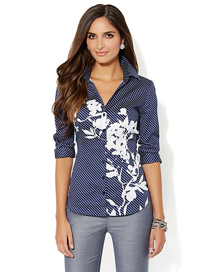 Madison Shirt - Stripes & Floral Print