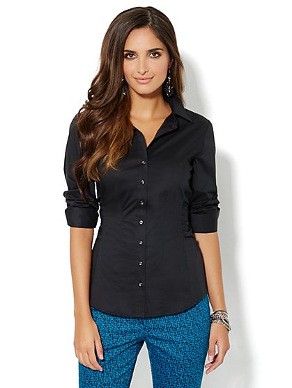 Madison Side-Ruched Shirt - Solid