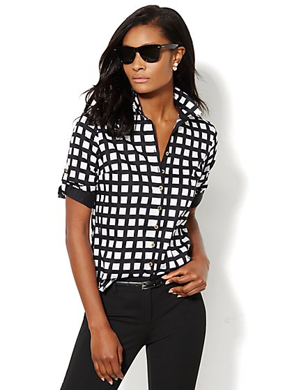 Madison Stretch Shirt - Check  - New York & Company