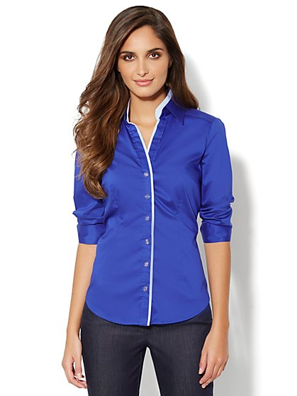 Madison Stretch Shirt - Contrast-Trim