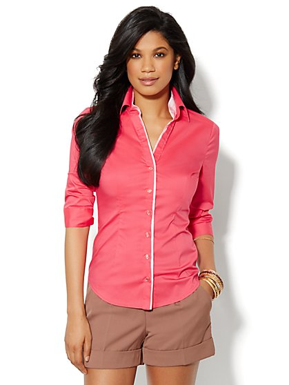 Madison Stretch Shirt - Coral Contrast-Trim