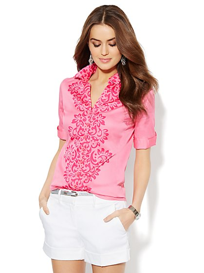 Madison Stretch Shirt - Lace Print  - New York & Company