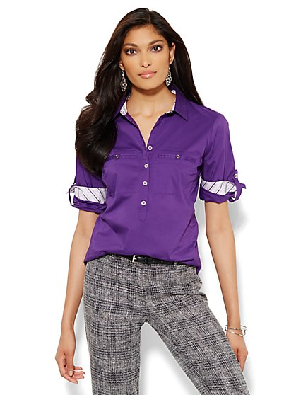 Madison Stretch Shirt - Popover - Solid - Petite - New York & Company