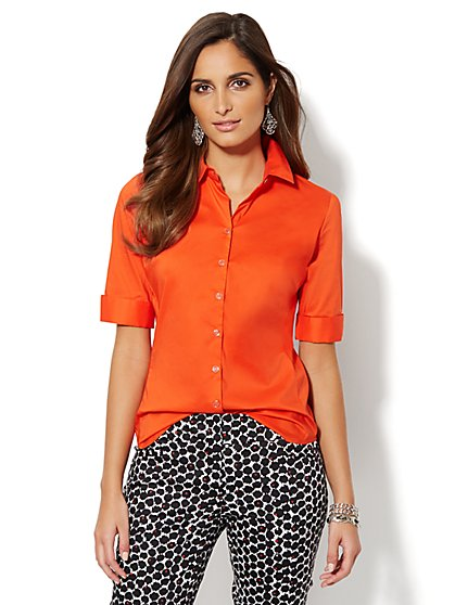 Madison Stretch Shirt - Solid - Petite - New York & Company