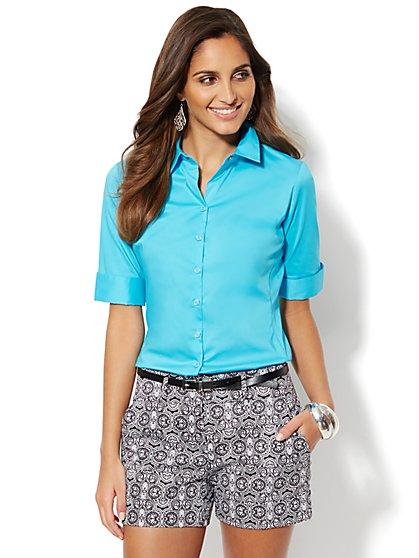 Madison Stretch Shirt - Solid - Petite - New York & Company