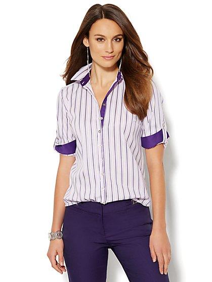 Madison Stretch Shirt - Stripe  - New York & Company