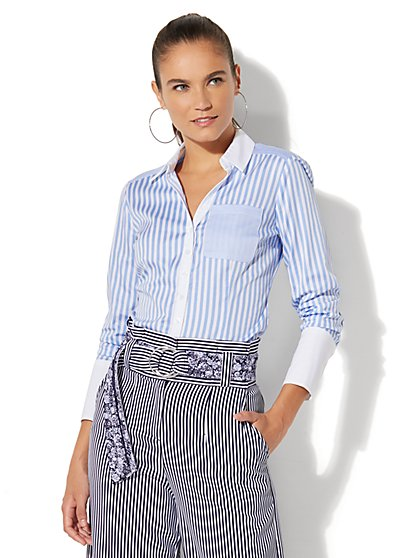 Madison Stretch Shirt - Stripe - New York & Company