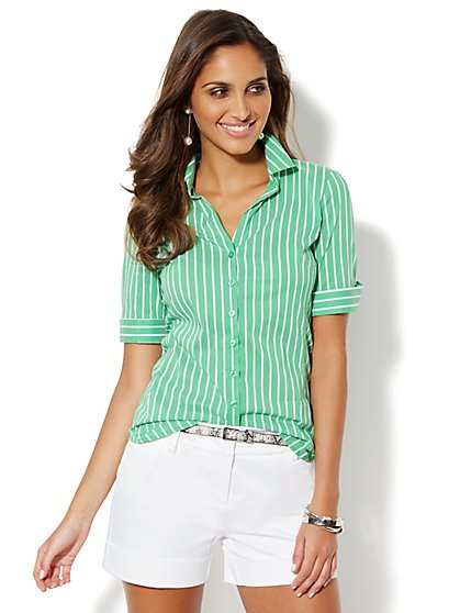 Madison Stretch Shirt - Striped  - New York & Company