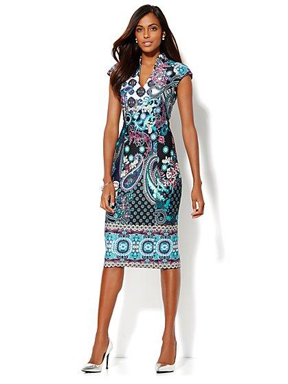 Mandarin Collar Scuba Dress - Print - Petite - New York & Company