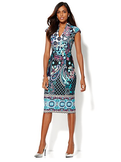 Mandarin Collar Scuba Dress - Print - New York & Company