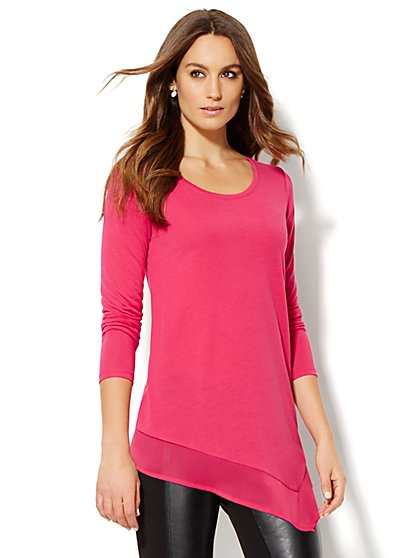 Manhattan Tee - Chiffon-Trim Asymmetrical Hem  - New York & Company