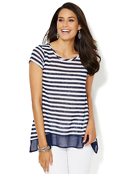 Manhattan Tee - Chiffon-Trim Sharkbite - Striped - New York & Company