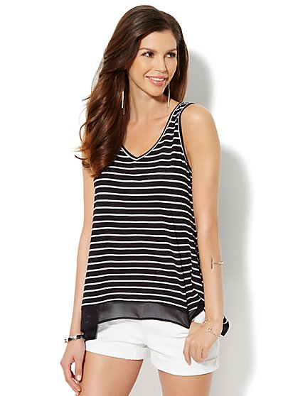 Manhattan Tee - Chiffon-Trim Sharkbite Tank - Stripe - New York & Company