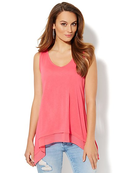 Manhattan Tee - Chiffon-Trim Tank Top - New York & Company