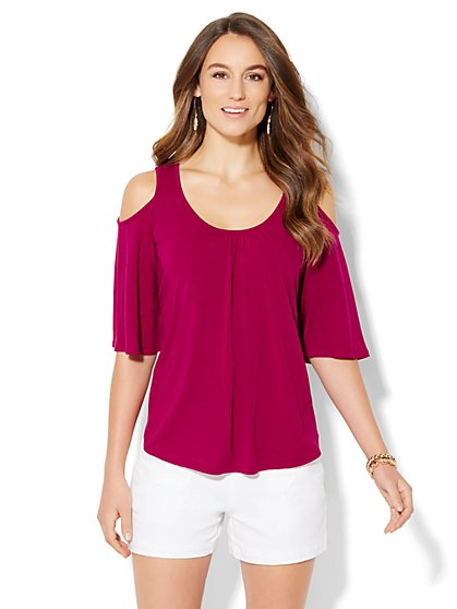 Manhattan Tee - Cold Shoulder Top - Solid  - New York & Company