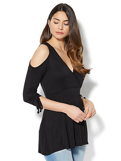 Manhattan Tee - Cold-Shoulder Wrap Top - New York & Company