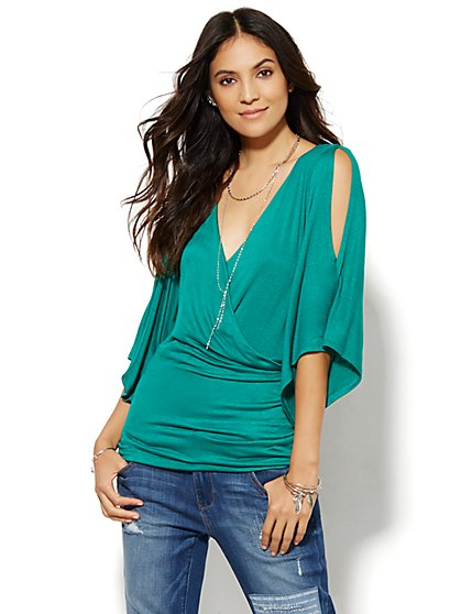 Manhattan Tee - Cold-Shoulder Wrap  - New York & Company