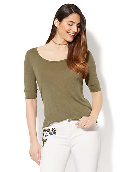 Manhattan Tee - Cuffed Elbow Sleeve - Flecked - New York & Company