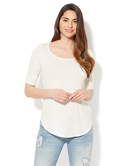 Manhattan Tee - Cuffed Elbow Sleeve - New York & Company