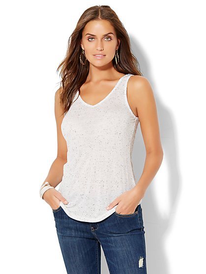 Manhattan Tee - Flutter-Back V-Neck Tank Top - White  - New York & Company