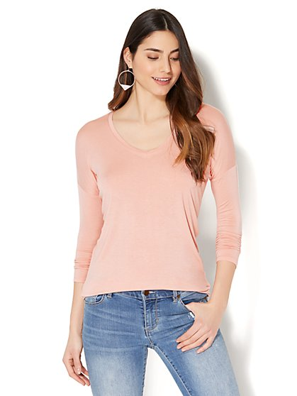 Manhattan Tee - Hi-Lo V-Neck Dolman Top - New York & Company