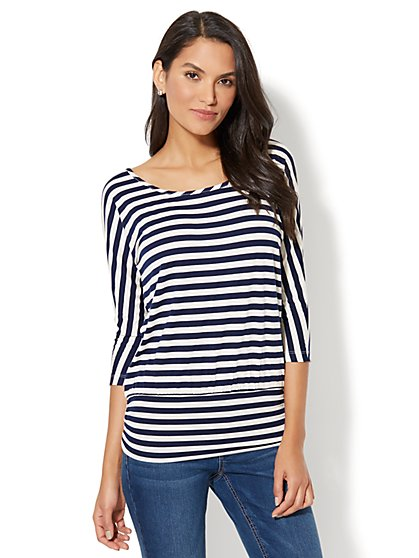 Manhattan Tee - Shirred Dolman Top - Stripe - New York & Company