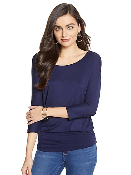 Manhattan Tee - Shirred Dolman Top - New York & Company