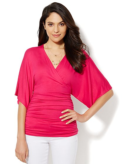 Manhattan Tee - Shirred Faux-Wrap - New York & Company