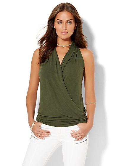 Manhattan Tee - Wrap-Front V-Neck Top - Solid  - New York & Company